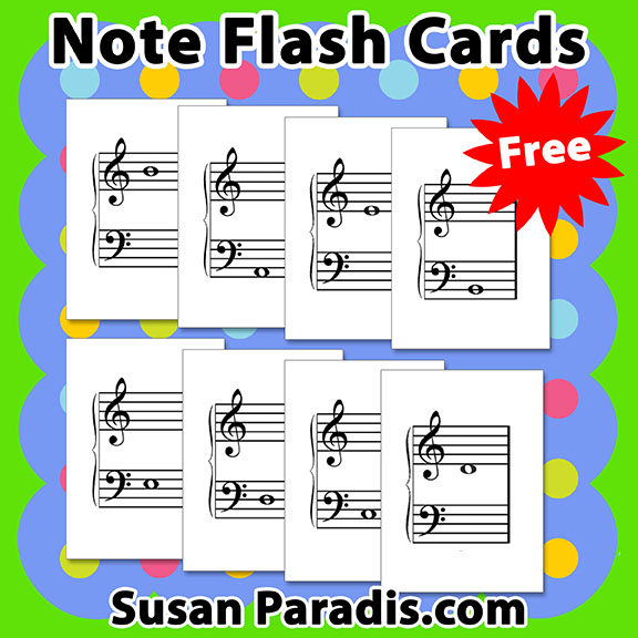 Sizzling image with musical note flashcards printable
